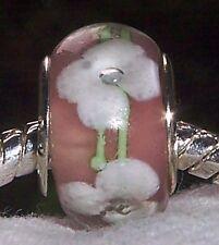 Pink White Mauve Flower Pastel Murano Glass Bead for European Charm Bracelet