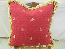 Upholstery Fabric Pillow Chinese Red w/Gold Accents Feather Down 20 x 20