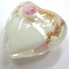 4 pieces Lampwork Heart Glass Beads - 20mm -A4032