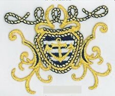 Metallic Gold Nautical Anchor Shield Badge Crest Embroidery Applique Patch