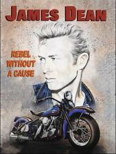 James Dean Rebel Movie Film Star Classic Harley Motorcycle Small Metal Tin Sign