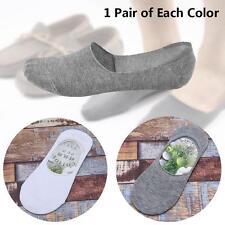 2 paire de chaussettes pour hommes Casual Loafer Invisible Coton Blanc + Gris DC