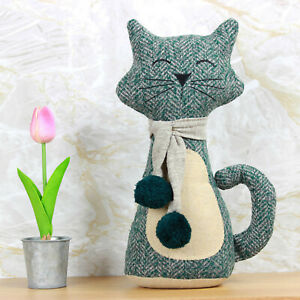 Green Cat with Scarf Door Stop Stopper Heavy Filled Fabric Animal Doorstop Gift