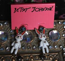 ♡ Betsey Johnson SNOW ANGEL White Enamel BUNNY RABBIT Dangle Earrings Easter
