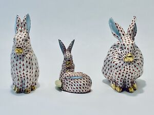 Fabulous Vintage Happy Bunny family With 24K Gold Hand Painted Herend Hungary