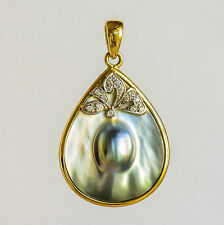 AUSTRALIAN ABROLHOS MABE PEARL PENDANT REAL 18K 750 GOLD GENUINE DIAMONDS NEW
