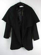 T Tahari Women's Marla Black Wool Blend Wrap Shawl Coat Size XS LK838