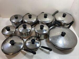 Vintage Pre 1968 Revere Ware Copper Bottom Pots & Pans with Lids 20 Piece Set