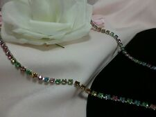 Vintage Estate Silver Pink Blue Peridot Spring Summer Rhinestone Long Necklace