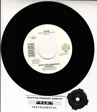 """R.E.M. (REM)  What's The Frequency Kenneth?  45 7"""" record + juke box title strip"""