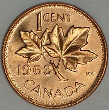 CANADA 1 CENT 1963 with DIE CHIP on right maple leaf (reverse) -MS