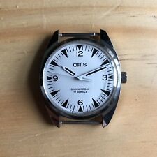 Vintage Oris Mechanical Watch Manual Wind White Dial 17 Jewels Shock Proof