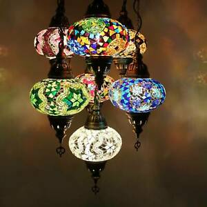 Mosaik Hängelampe Deckenlampe Lampe Orientalisch Mosaik Hängelampe 7 Groß Kugeln