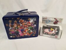 Pull & Speed Mario Kart Wii Wild Wing Peach and Mario Party Tin Lunch Box Extras