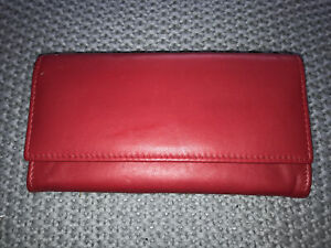 Red Purse Wallet Quality Leather Golunski Unused But With Defects Notes Coins