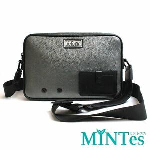 Auth Louis Vuitton Alpha Messenger Shoulder Bag M52767 Taurillon Leather Gray Bl