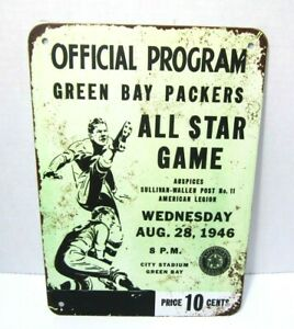 1946 Green Bay Packers All Star Game Official Program Metal Replica Sign