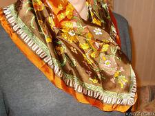 TRUE VINTAGE FLORAL BROWN 100% ACETATE CIRRO HAND PRINTED MADE IN JAPAN