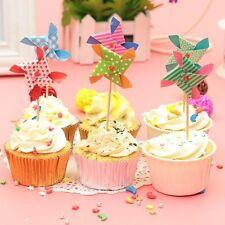 6x Mini Lovely Windmill For Ice Cream Cake Decor Birthday Party Cake Decoration