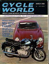 Cycle World Magazine March 1968 MV 600 Suzuki EX No ML 041217nonjhe