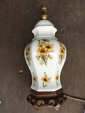 PRELOVED YELLOW FLOWER GINGER JAR TABLE LAMP WOOD BASE