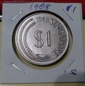 Singapore 1968 Lion One Dollar $1 Coin EF AUNC UNC #s