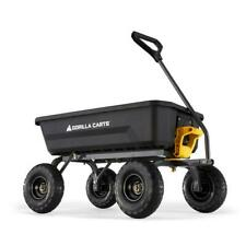 Gorilla Garden Dump Cart 4 cu. ft. Plastic Steel Handle Pneumatic Rubber Tire