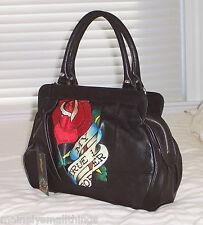 NWT Ed Hardy HATTIE Demi Satchel Bag MY TRUE LOVE FOREVER Black 1VP174BE