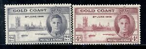 GOLD COAST 128a-29a SG133-34 MH 1946 Peace Issue set Perf 13&1/2X14 Cat$30