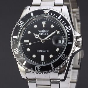 Winner Automatic Stainless Steel Skeleton Sports Watch Black Face