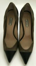 PAUL SMITH LADIES BROWN SUEDE  BLACK LEATHER TOE COURT SHOES SIZE UK 7 EU 40