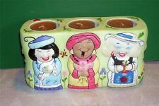 Party Lite Porcelain Ladies Trio Votive Tea Light Candle Holder Multi Color