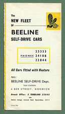 """1962 ILLUSTRATED ADVERTISING LEAFLET FOR """"BEELINE"""" SELF-DRIVE CARS NORWICH"""
