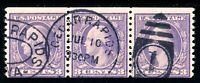 USAstamps Used FVF US Washington Perf 10 Coil Strip Scott 494 Fancy Cancel