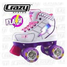 Crazy FLASH - LED LIGHT UP Roller Skates, Pink/White/Purple Size 3 Kids Skate