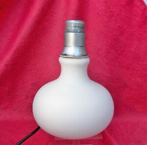 Pied de lampe design vintage opaline blanche