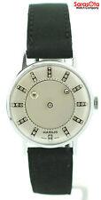 Vintage Hamlin Mystery Diamond Dial Leather Swiss Manual Wind Men's Watch