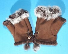 Faux Suede Brown Leather Wrist Warmers with Real Fur Trim