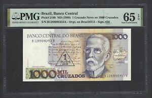 Brazil One Cruzado Novo on 1000 Cruzados ND(1989) P216b Uncirculated Grade 65