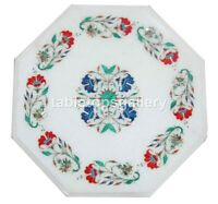 """12"""" White Marble Side Coffee Table Top Lapis Carnelian Floral Inlay Decors W260"""