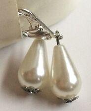 Silver White Pearl Baroque Earrings Teardrop Pear Shape Dangle Pierced Plated