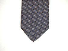 "Bellini Mens Necktie Tie Blue Orange Striped Geometric 100% Silk 59"""