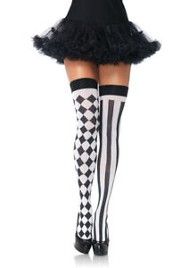 Black & White Harlequin Thigh Highs, Clown Stockings, Joker, Jester, Circus
