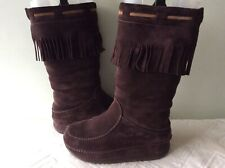 FITFLOP real suede ladies brown tassled fringed slouchy pull on boot size 4/37