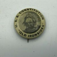 """Vtg USS Constitution Old Ironsides 1-1/4"""" Button Pinback Pin Antique Old Rare S4"""