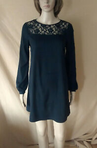 WOMENS THERAPY BLACK LIGHTWEIGHT LONG SLEEVE TUNIC DRESS WITH LACE SIZE 12 EU 40