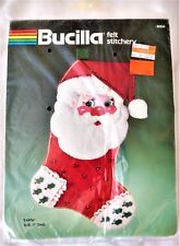 "NIB Vintage Bucilla Felt Stitchery ""Santa"" Stocking 17 Inches-82250"