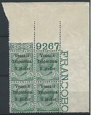 1918 TRENTINO EFFIGIE 5 H NUMERO DI TAVOLA QUARTINA LUSSO MNH ** - ED765