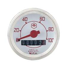 VESPA Redondo Speedo/Velocímetro 100mph Blanco Cara/texto rojo V50/V90/V100