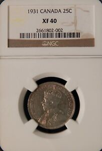 1931 25 CENTS - NGC XF 40 - CANADA - SILVER
